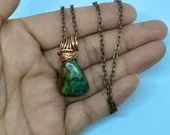 Crystal healing jewellery, African Turquoise necklace, copper wrap, copper Rolo necklace