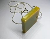 Lime Green Square Pendant Necklace, one of a kind, Epoxy Resin