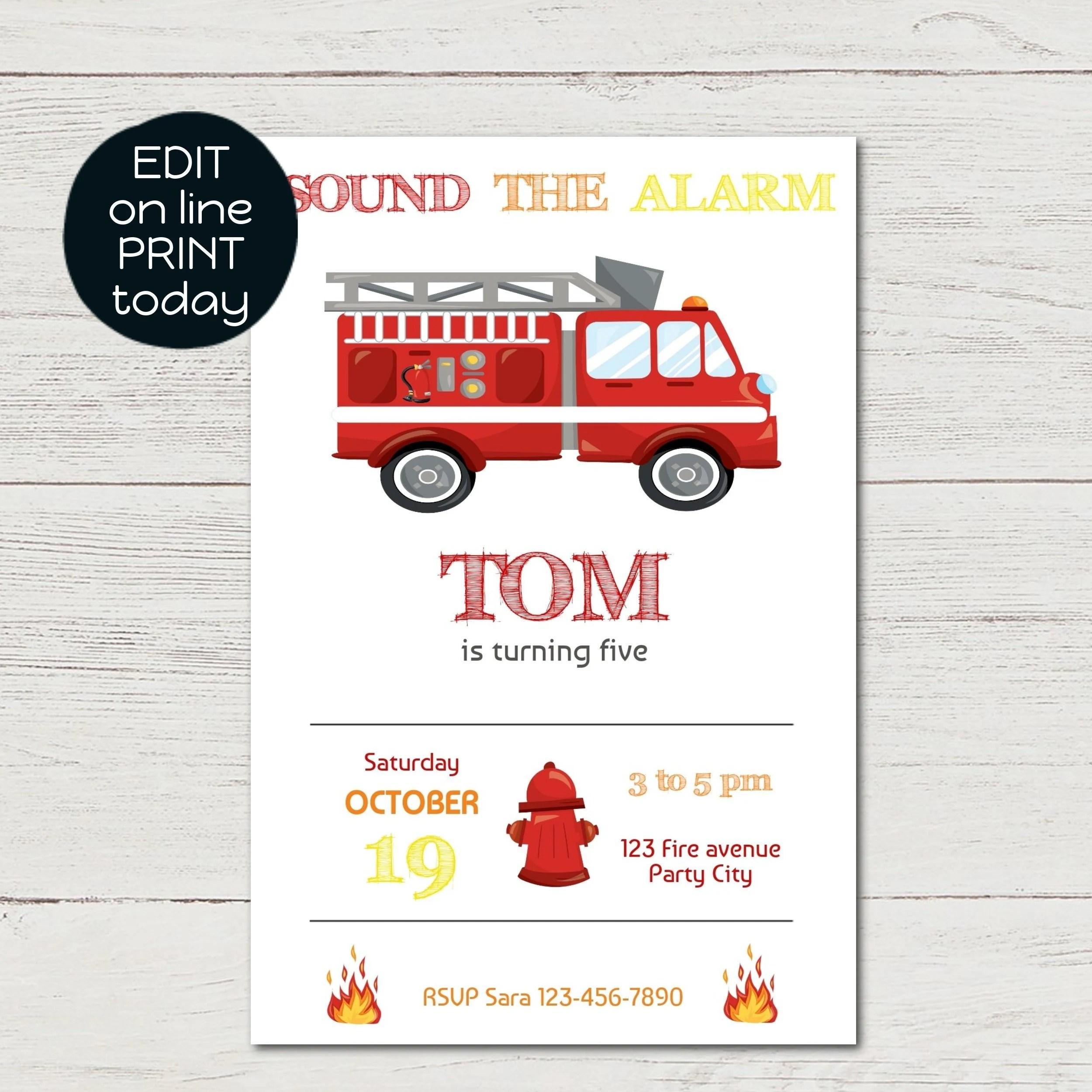anniversaire pompier invitation anniversaire garcon imprimable camion de pompier fichier numerique