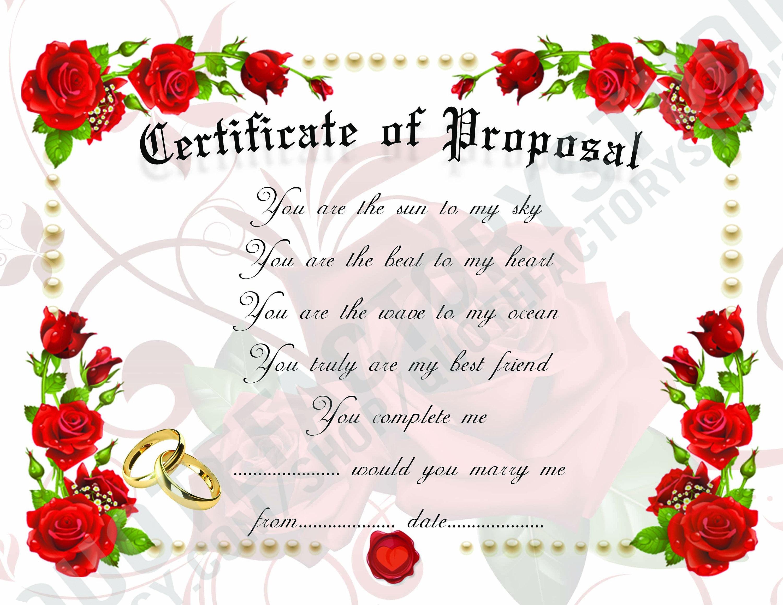 proposal certificate i love