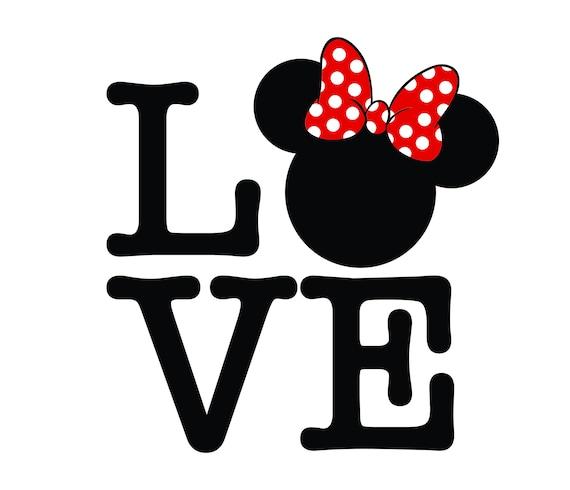 Download Love mickey svg Love Minnie Love Wording Svg | Etsy