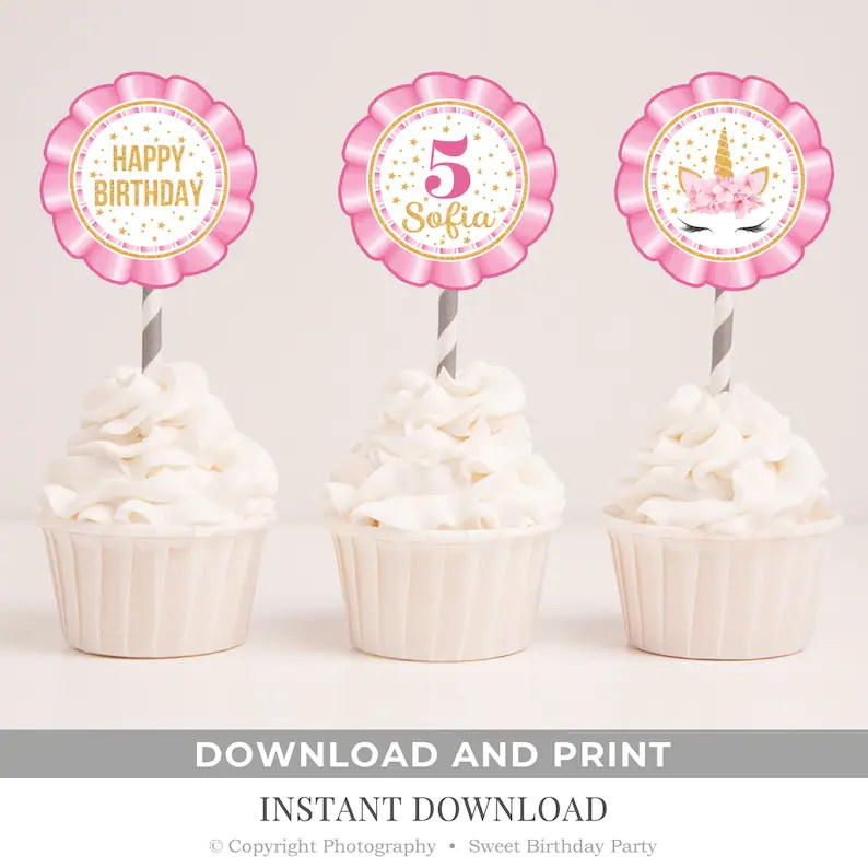 Unicorn Birthday Cupcake Toppers Printable Pink And Gold Etsy