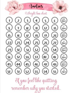 Personalised floral weight loss chart in colours with stickers slimming world watchers diet tracker also etsy rh