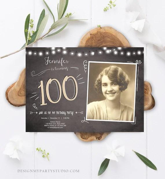 editable 100th birthday invitation
