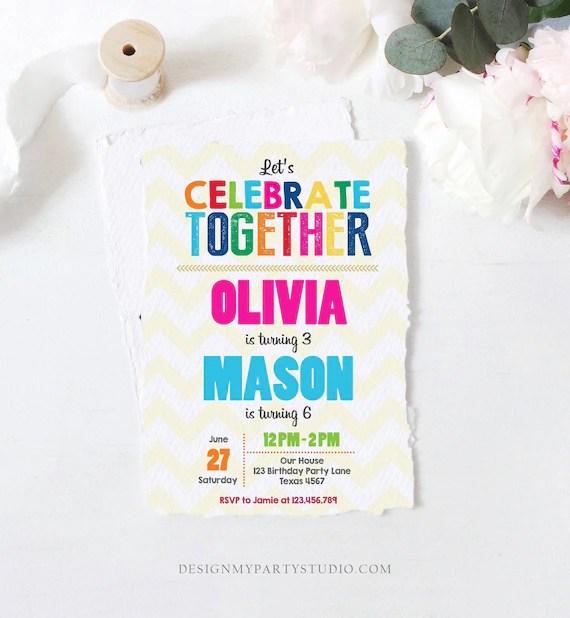 editable joint twin birthday invitation
