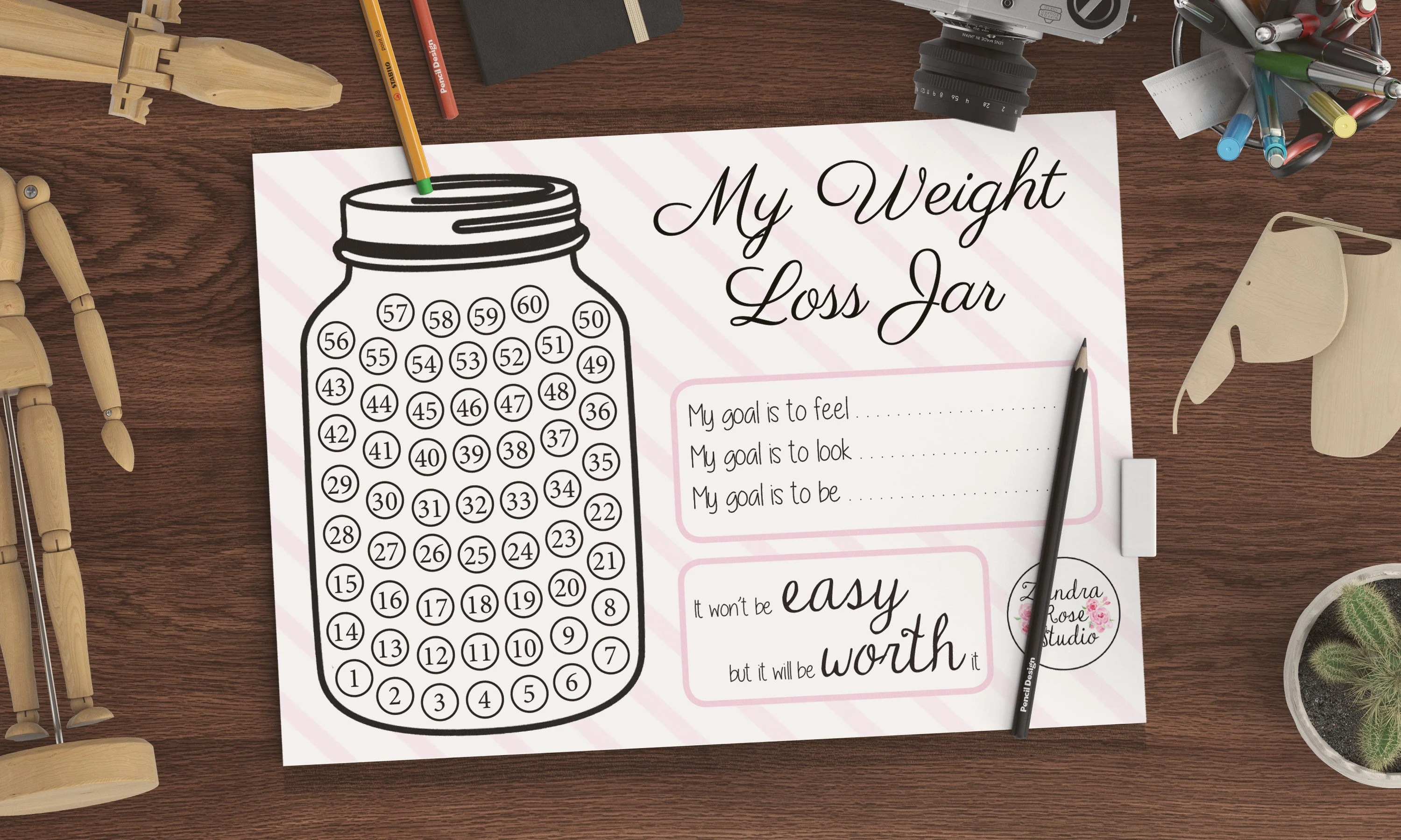 Weight Loss Tracker Printable Weight Loss Jar Instant
