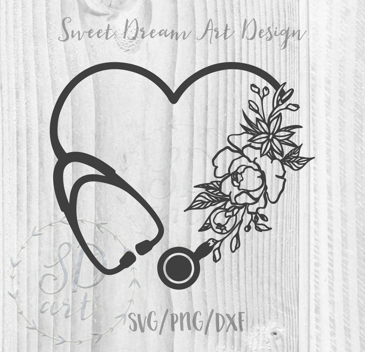 Heart Stethoscope with flowers SVG Heart Stethoscope svg