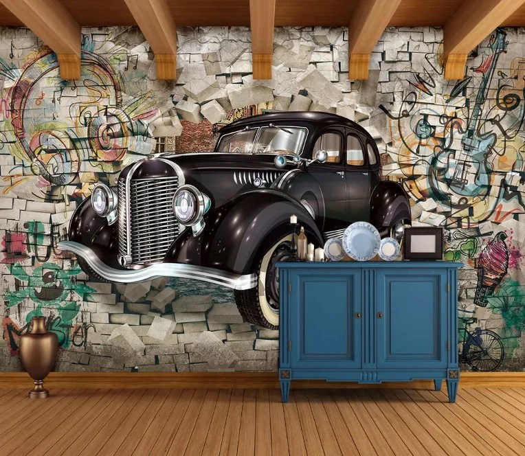 Seeing one of these on the road these days is sure to turn some heads and make anyone green with envy. Retro Classic Car Wallpaper Graffiti Wall Murals Street Wall Art Vintage Cafe Decor Living Room Young Room U0130ndustrial Home Design Wall Decor Home Living Sultraline Id