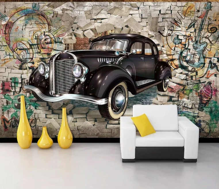 No matter their age, you're sure to find a boys wall mural that perfectly matches your kid's personality. Retro Classic Car Wallpaper Graffiti Wall Murals Street Wall Art Vintage Cafe Decor Living Room Young Room U0130ndustrial Home Design Wall Decor Home Living Sultraline Id