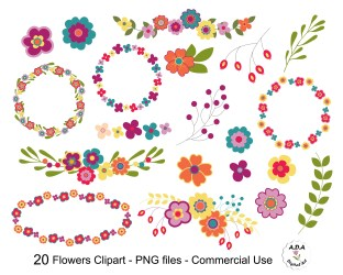 Floral Clipart Flower Clip Art Flower clipart Floral Frame Etsy