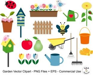 Garden Clipart Garden Vector Clip Art Flower Vector Clipart Etsy