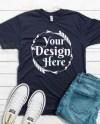 Bella Canvas 3001 Navy Unisex T Shirt Mock Up T Shirt Mock Etsy