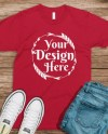 Bella Canvas 3001 Red Unisex T Shirt Mock Up T Shirt Mock Up Etsy