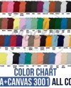 Bella Canvas 3001 Color Chart 2019 Updated Heathers Blends Etsy