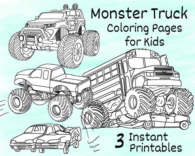 Monster Truck Coloring Pages for Kids, 22 Printable Coloring Pages of  Monster Trucks for Girls and Boys