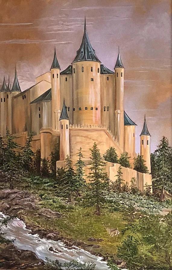 Medieval Castle Painting : medieval, castle, painting, Giclée, Castle, Painting/Segovia, Spain/Medieval/Architectural