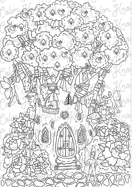 Printable Garden Coloring Pages : printable, garden, coloring, pages, Fairy, Garden, Coloring, Decorating, Printable