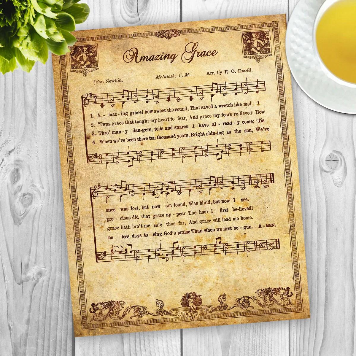 Amazing Grace Vintage Sheet Music File Instant