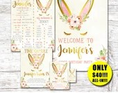 Bunny Invitation-Thank You Card-Bunny Welcome Sign-First Birthday Sign-Time Capsule Sign-Some Bunny Is One-Bunny Party-Spring Birthday-Print