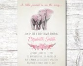 Pink Elephant Baby Shower Invitation -Girl Baby Shower-Pink Baby Shower-Pink Elephant Baby-Pink Elephant Shower-Baby Girl Shower-Elephant