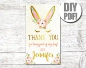 Thank You Card-Bunny Birthday-Some Bunny-Birthday Thank You-First Birthday-Bunny Thank You