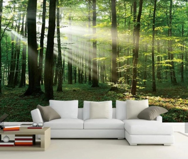 Sun Misty Forest Tree View D Wall Murals Scenery Wallpaper Mural Wall Mural Decalprinted Photo Wall Papersflash Silver Cloth Wallpapers