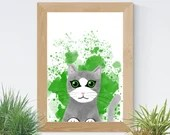 Printed with a grey cat illustration in watercolor style, art, children's illustration, wall decoration