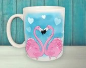 Coffee cup with  Flamingo in watercolor style, cup customization, printed cup