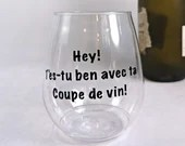 Vinyl decal or footless wine glass ''Are you well with your glass of wine''. sticker, vinyl decal for smooth surface
