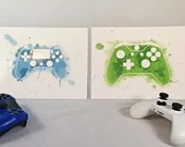 Printed with watercolor-style video game console illustration, wall decoration, poster, gamer decoration