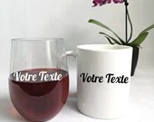 Custom cup, wine cup or vinyl decal for cup, wine glass, car window and more, cup customization, sticker