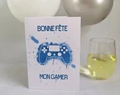 Party card with watercolor-style video game controller with happy birthday, birthday, greeting card.