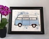 Print of an illustration of westfalia style watercolor, travel, art, wall decoration