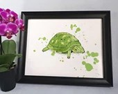 Printed with a watercolor style turtle illustration, birth poster, art, children's illustration, wall decoration