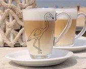 Vinyl decal for coffee cup or wine glass with pink Flamingo, Cup customization, sticker, decoration