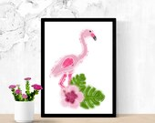 Poster print of a pink Flamingo style illustration, birth poster, art, child illustration, wall decoration