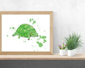 Printed with a watercolor-style turtle illustration, birth poster, art, children's illustration, wall decoration