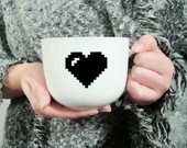 Decal vinyl for the coffee cup with heart pixel, custom mug, sticker, decoration