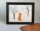 Printed with a fox illustration in a winter landscape, wall decoration, poster, Poster, Animals