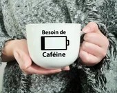 Vinyl decal for coffee cup need caffeine with an empty battery, sticker,