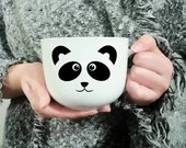 Vinyl decal for coffee cup or wine glass with panda face, cup customization, sticker, decoration