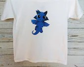 T-shirt printed kids XS with little blue dragon sweater for children, clothing, unisex, white