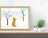 Print of Fox in a winter landscape, wall decor, poster, Poster, Digital Art, animals, fox