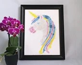 Poster print of a watercolor style unicorn illustration, birth poster, art, children's illustration, wall decoration