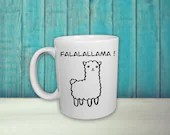 Vinyl decal for coffee cup with a llama and text ''Falalallama'' . sticker, decoration, vinyl decal for smooth surface