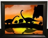 Print of dinosaur with a sunset, wall decor, poster, Poster, dino, Digital Art, animal landscape