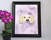 Printed with a golden watercolor style dog illustration, art, children's illustration, wall decoration