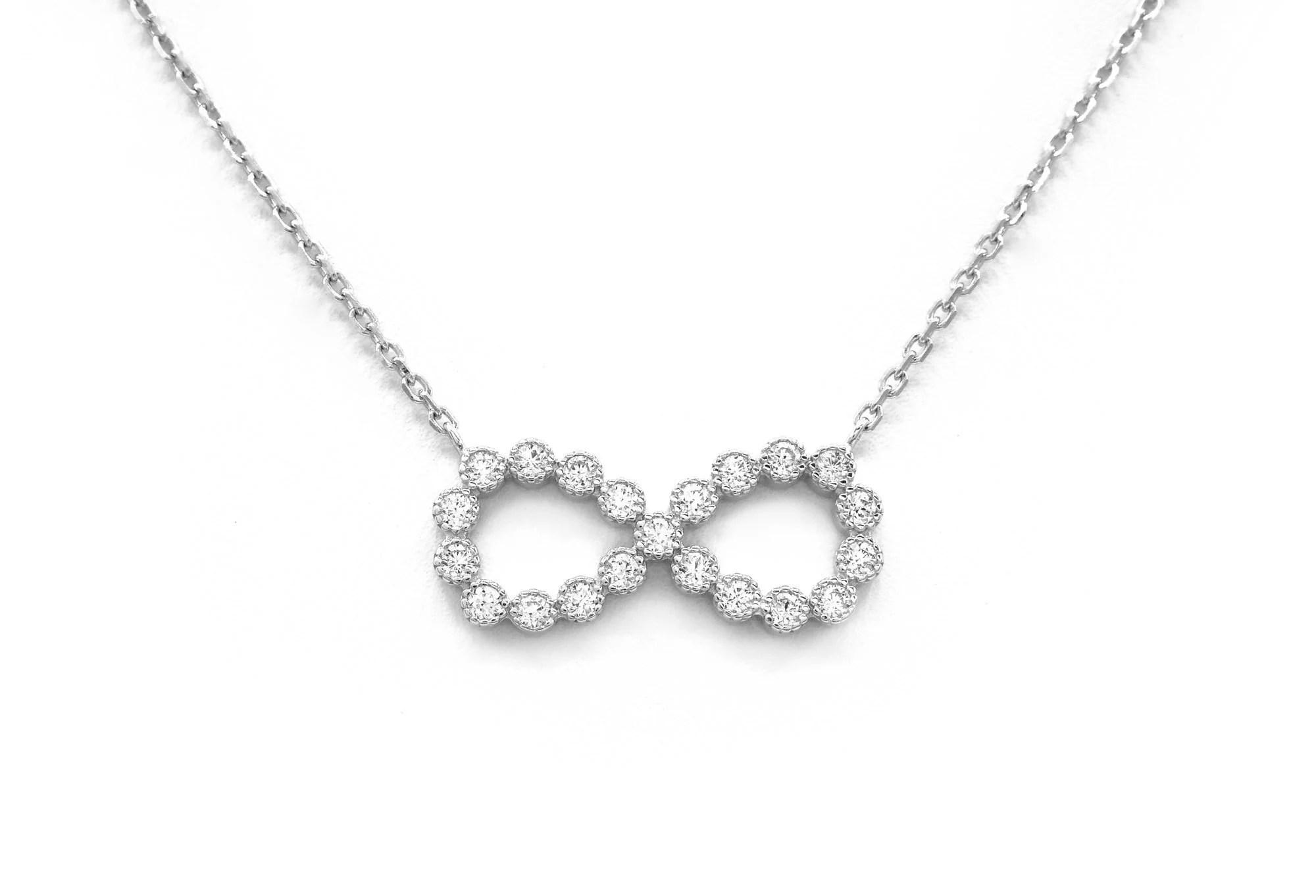 0.63 TWC Created Diamond Infinity Pendant 925 Sterling