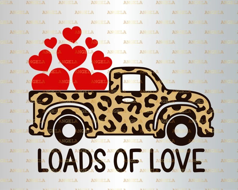 Download Loads of Love Svg Valentine Truck Svg Valentine's Day   Etsy