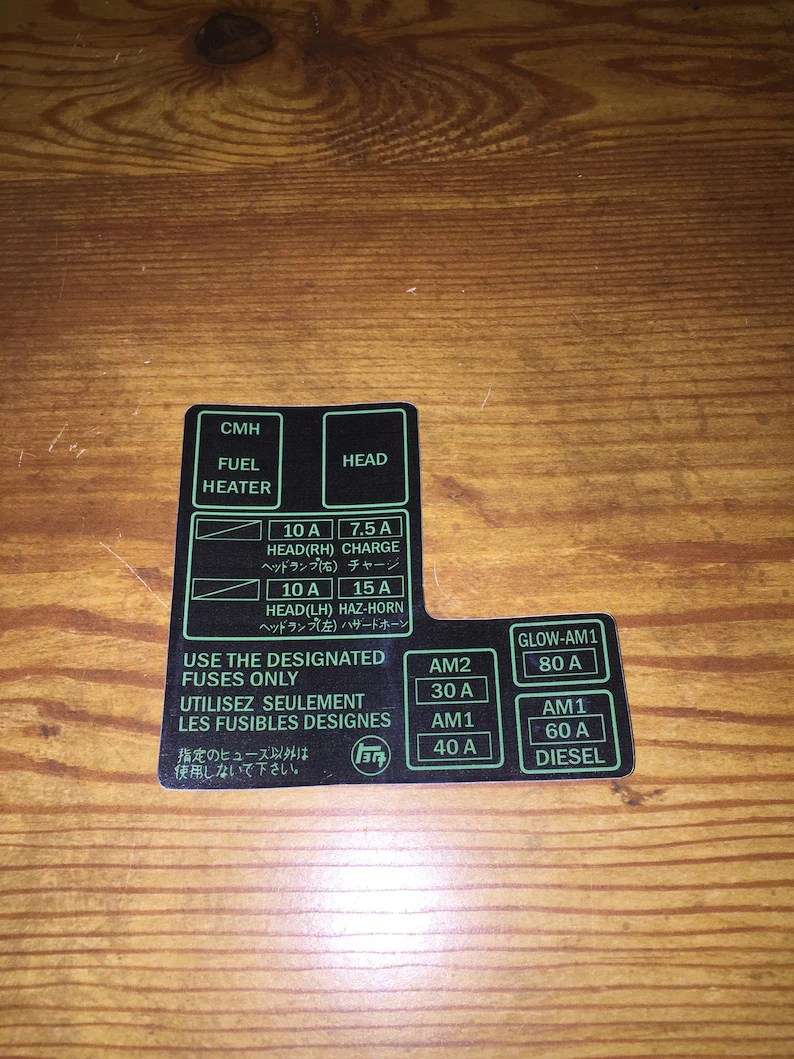 hight resolution of 1984 88 toyota pickup truck 4runner fuse box decal 22re etsy88 toyota fuse box 3